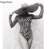 Gogo Show dance team DS bar DJ sexy black and white striped big hat performance Costume leotard for woman freeshipping