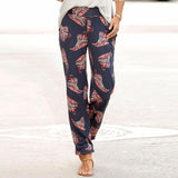 Women cotton loose thin trousers casual straight printing high waist pants plus size Ladies comfortable fashion sports trousers