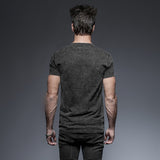 Goth Steampunk Rock Men's Short Sleeve T-Shirt Spring Summer Military Style Black Casual Tee Shirt Tops
