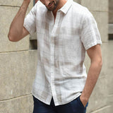 Men Shirt  Baggy Cotton Linen Plaid Summer Tops Short Sleeve Button Retro Blouse Turn-down Collar Shirts Men camisa masculina