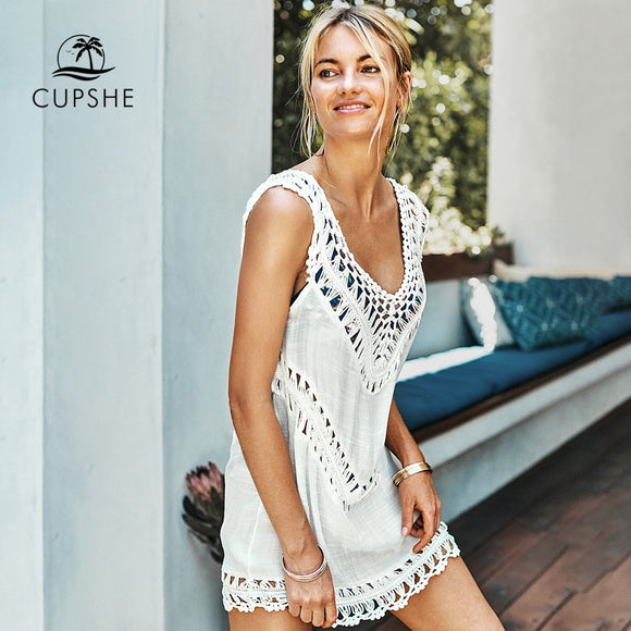 CUPSHE White Crochet Sleeveless Tunic Cover Up Sexy Cut Out V-neck Beach Dress Women 2020 Summer Bathing Suit Beachwear