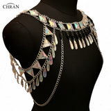 Bejeweled Crystal Body Chain Necklace Top