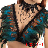 GOTHIC Black Feather epaulettes Adjust straps Bondage Body Harness shoulder burningMan halloween burlesque festival epaulette