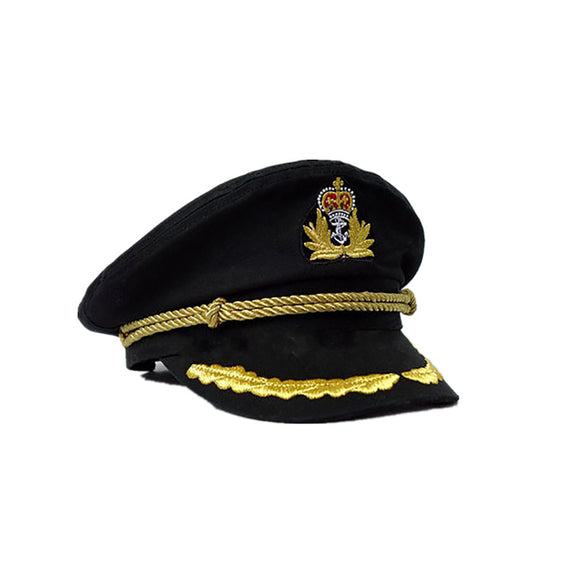 NaroFace Unisex Cotton Sailor Captain Hat Uniforms Costume Party Cosplay Stage Perform Flat Navy Military Cap Black High Quality