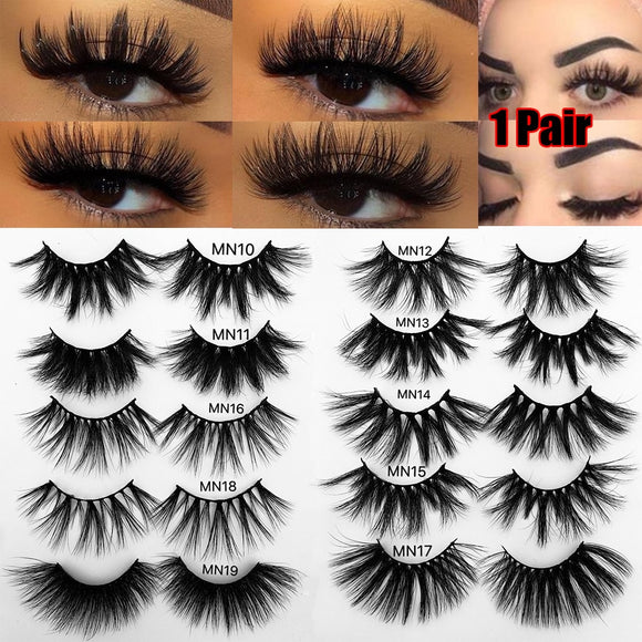 1 Pair 25/30mm Thick Makeup Lashes 3D Mink Hair False Eyelashes Long Wispies Fluffy Multilayers Eyelashes Cruelty-free Extension