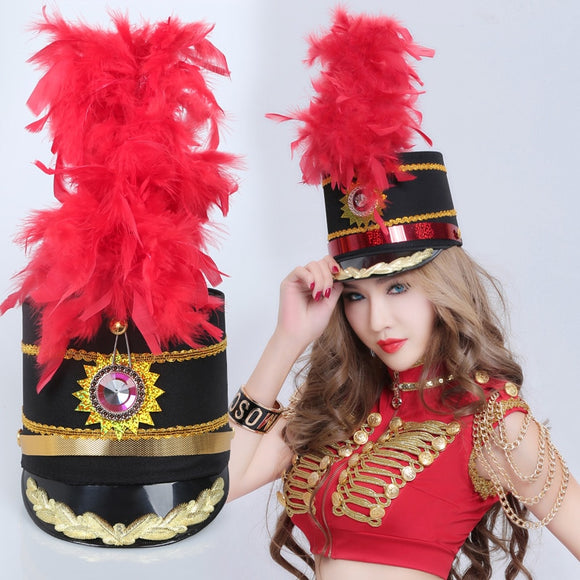 New Honor Guard Jazz Dance Hat Band Drum No. Black Officer Hat Red Feather Hat
