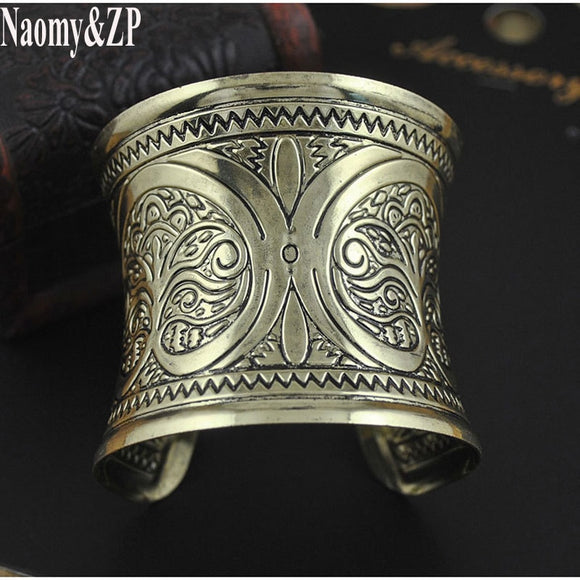 Naomy&ZP Ethnic Cuff Bracelet For Women Bracelets & Bangles Punk Wide Bohemian Boho Vintage Bangle Indian Fashion Jewelry