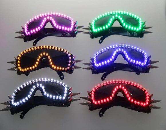 6 Color Burst Flashing LED Glow Glasses LED Rivet Punk Glasses For LED Growing Light Performance Stage Costume Clothes