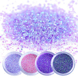 4 Jars Holographic Effect Nail Glitter Set For UV Gel Polish 10ml Fine Glitter Sparkles Acrylic Nail Art Glitter Manicure Dust