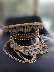 Handsome punk golden rivets metal fringe decoration hat uniform party bar DJ performance singer cap women