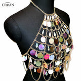 Chran Acrylic Beaded Rave Bra Bralete Seascale Sequins Crop Top Belly Waist Belt Chain Necklace Festival Wear Jewelry CRS415
