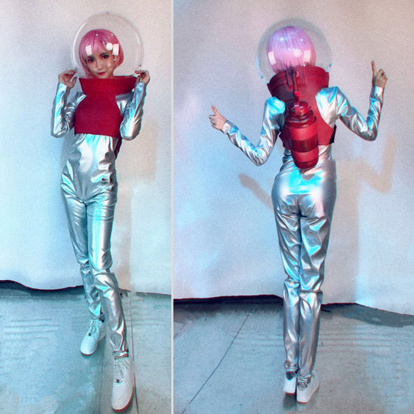 Transparent helmet silver Lady stage jumpsuit sets DJ GOGO Dance Dress Party Performance Wears DS Costume stagewear