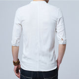 Chinese style Flax summer pants embroidered yarn men's shirt men's long sleeve shirt men's retro cotton shirt