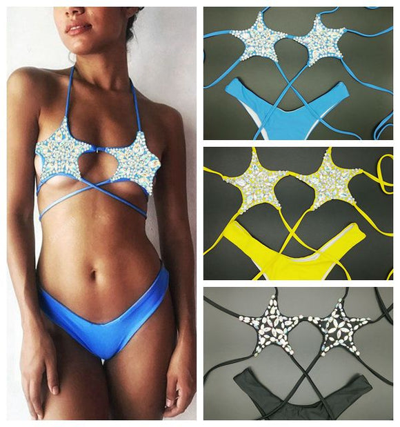 2019 venus vacation new diamond Five-pointed star bikini set bandage swimwear sexy women bthing suit push up biquini swimsuit