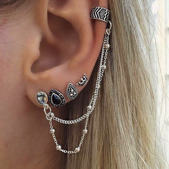 Bohemian Earrings Women Ethnic Jewelry Earrings Set Ear Stud Earrings With Chain Water Drop Boho Punk Style Ear Charm Brincos