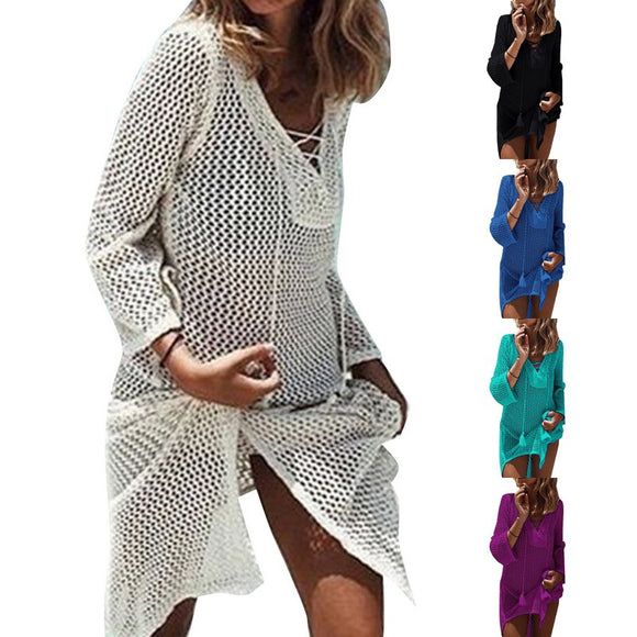 Fashion Women Beach Wear Outing Cover Up Knitted Robe Plage V Neck Hollow Candy Color Kaftan Dress Pareos Bikini Sarong Swimsuit