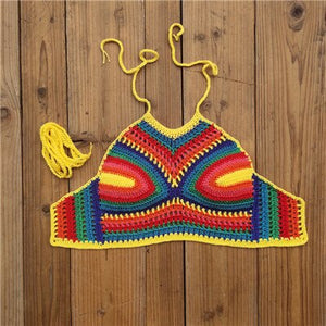 Intricately Hand Crocheted Bikini Top Starry Night Crop Top Halter Cami Tank Swimwear Top