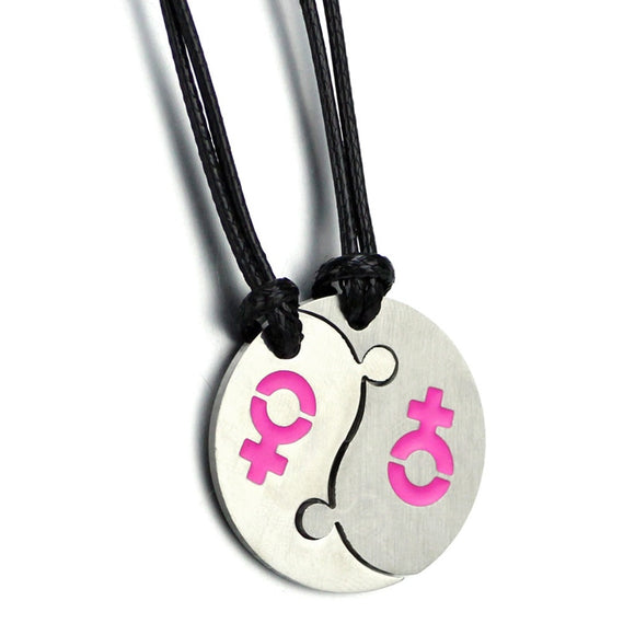 1Pair Couple Necklace Yin Yang Pendant Necklaces LGBT Gay Pride Fashion Jewelry Collar Female Men Best Friends Gifts bijouterie