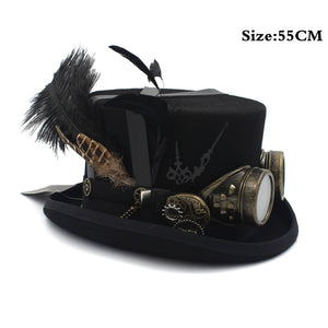 100% Wool Steampunk Top Hat Women Steam Punk Gear fedoras Hat For Men Millinery Steampunk Goggles Party Performing Cap