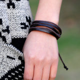 Men's Bracelets & Bangles 2016 Wholesale Rope Cord Handmade Woven Cow Leather Bracelet Wristband Multi Layers Fashion Jewel