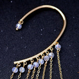 Bohemian Colour Feather Ear Hook Clip Earrings for Women Accessories Lovely Gold Long Tassels Cuff Earring Fashion Jewelry Gifts