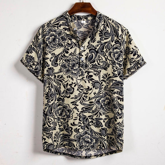 Mens Ethnic Short Sleeve Casual Cotton Linen Printing Hawaiian Shirt High quality men's clothes