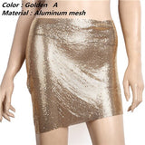 Metallic Rhinestone Body Chain Choker Top and Skirt (3 Colors)