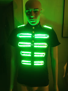 RGB Remote control colorful led suit for dance performace Led stage clothes Luminous Glowing Suits LED T-shirt Event Supplies