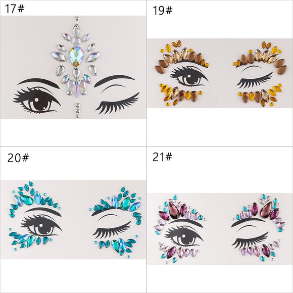 Adhesive Face Gems Rhinestone Temporary Tattoo Jewels Festival Party Body Glitter Stickers Flash Temporary Tattoos Sticker
