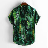 Men Shirt Summer Style Print Beach Hawaiian Green Casual Shirt Men Casual Short Sleeve Hawaii Shirt camisa masculina men shirt