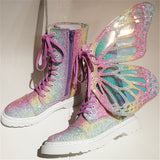 Butterfly Wings Iridescent Lace Up High Top Sneakers