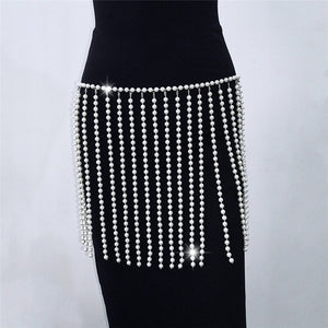 Pearl Beaded Body Chain Bralette Top/Skirt