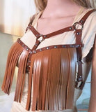 Leather Tassel Harness Top (4 Colors)