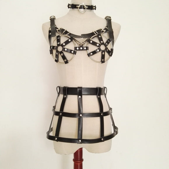 Leather Hollow Out Bandage Bikini Harness Cage Skirt and Choker (4 Colors)