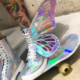 MStacchi Women Shine Silver Short Boots 2019 Butterfly Wings Sneakers Ladies Lace Up Colorful Shoes Woman Bling T-Show High Shoe