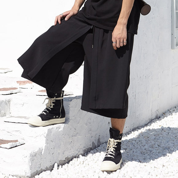Men Japan Kimono Loose Wide Leg Pant Fashion Casual Skirt Trousers Male Streetwear Hip Hop Punk Harem Pants