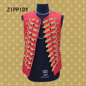 New Style Black Breasted Adorn Gold Embroidery Men's Red Vest Bar Nightclub Male Singer Host Slim Coat Stage Ds Dj Show Costume
