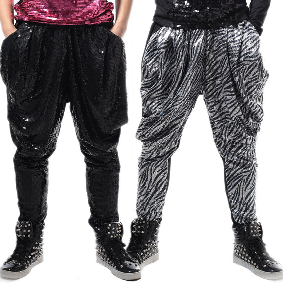 Black Or Silver Sequins Men Loose Harem Pants Hip-Hop Ds Dj Male Singer Dancer Bar Nightclub Stage Performance Trousers Costumes