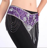 Belly Dance Handmade Belt Shiny Flower Beaded Hip Scarf Wrap Belt Golden Purple Red Blue Black Free Shipping