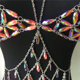 Iridescent Vinyl Chain Bralette Top Choker Belt (4 Colors)