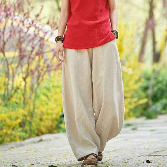 Johnature Summer Solid Color Pockets Loose Pants 2020 New Women Vintage Elastic Waist Cotton Linen Wide Leg Full Length Pants