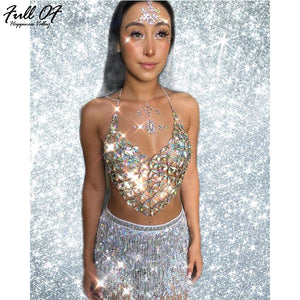 Iridescent Gem Star Body Chain Cami Top