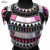Bejeweled Crystal Pink Mirror Body Chain Crop Top
