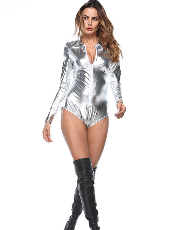 Women Clothes 2019 Silver Pu Leather Plus Size Bodysuit Casual Long Sleeve Zipper Bodycon Jumpsuit Party Overalls Sexy Costumes