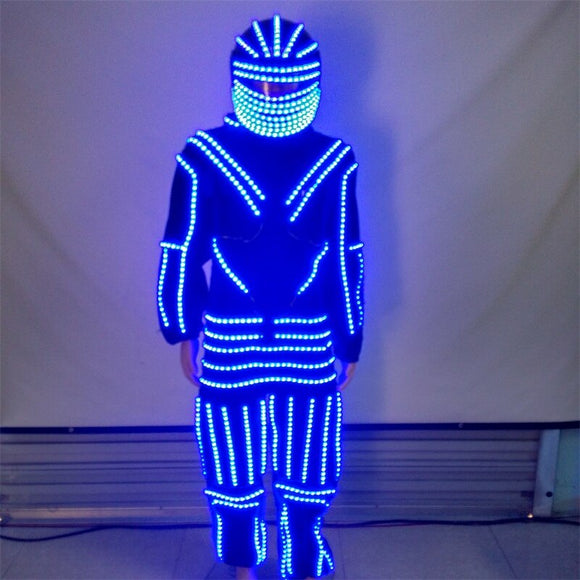 Nightclub Bar party  LED Luminous Dance Costume Clothes With Led Helmet Glowing Robot Suit Stage Performance Clothing Dancewear