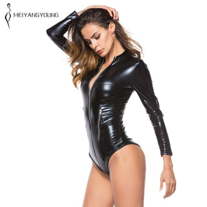Gold Long Sleeve Pu Leather Bodysuit Elegant Slim Plus Size Bodycon Jumpsuit Lady Formal Club Party Sexy Overalls Women Clothes