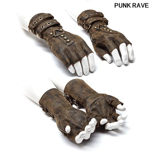 Steampunk Military Dieselpunk motocycle Gloves Gothic One Pair Mens Coffee Gray Colours Fingerless Gloves punk rave WS-252SSM