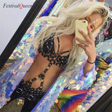 FestivalQueen sexy PU leather hollow out bodysuit women spaghetti strap nightclub performance romper black beach overalls
