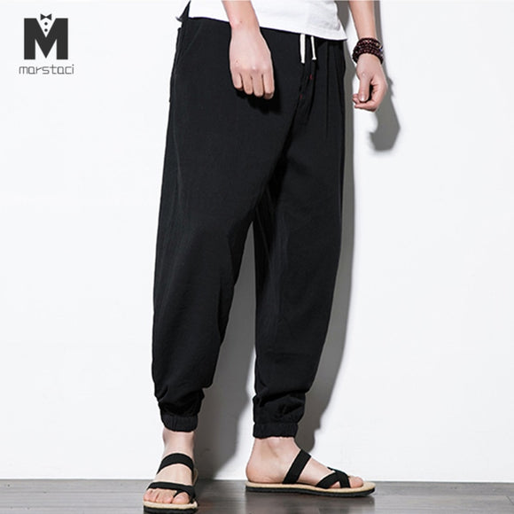 Marstaci Plus Size Cotton Linen Harem Pants Mens Jogger Pants 2018 Male Casual Summer Track Pants Trousers