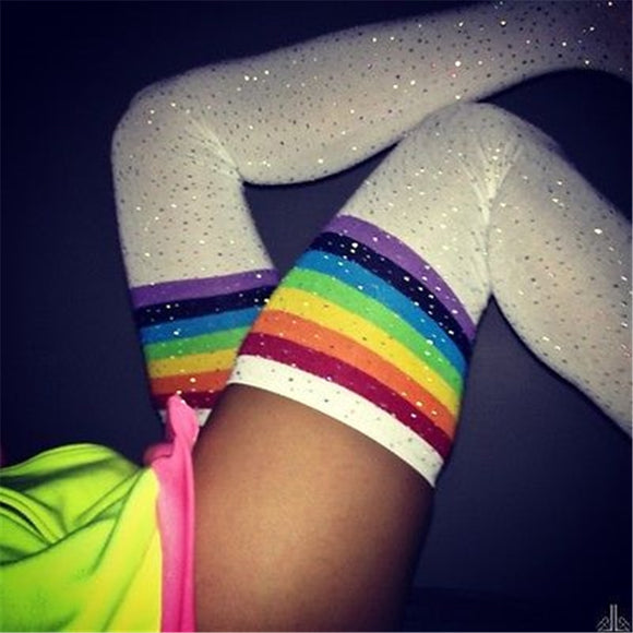 Women Stockings Women Socks Rhinestones Thigh High Over The Knee Socks Cotton Stockings Bling Thigh High Harajuku Hiphop SW066